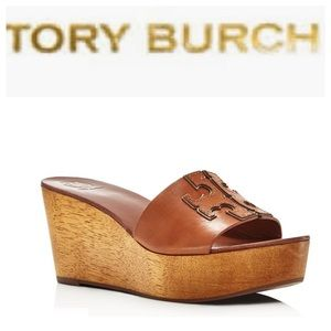 Tory Burch Women's Ines Size 6 Brown Wedge Sandals